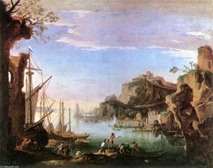 Salvator Rosa - Harbour with Ruins