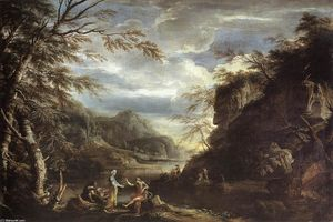Salvator Rosa - River Landscape with Apol..