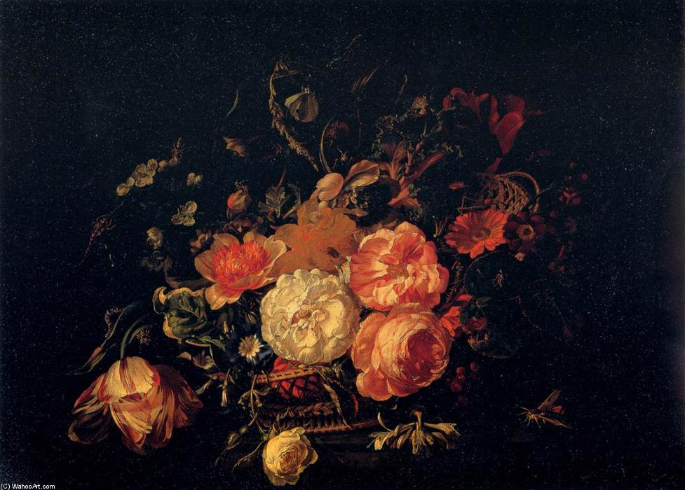 Basket of Flowers, 1711 by Rachel Ruysch (1664-1750, Netherlands) | Painting Copy | ArtsDot.com