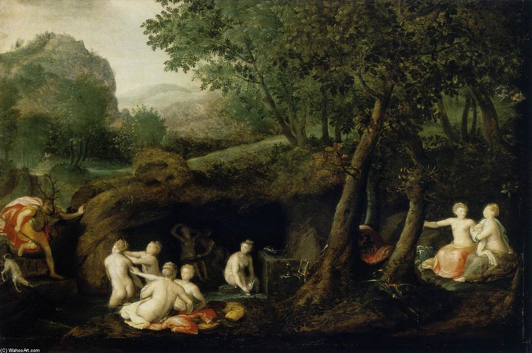 Diana Turns Actaeon into a Stag, Oil On Panel by Bernaert De Ryckere (1535-1590, Belgium)