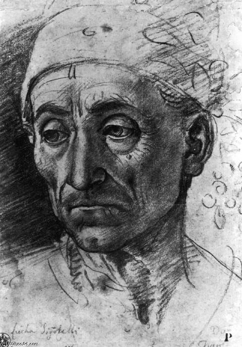 Head of a Poet Wearing a Cap, Pencil by Luca Signorelli (1445-1523, Italy)