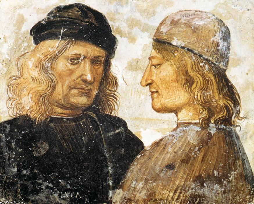 Self-Portrait with Niccolò d'Angeli Franceschi, 1500 by Luca Signorelli (1445-1523, Italy)