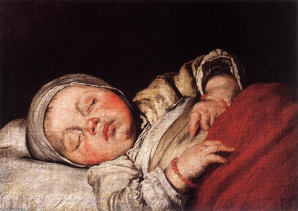 Sleeping Child by Bernardo Strozzi (1581-1644, Italy) | Reproductions Bernardo Strozzi | ArtsDot.com