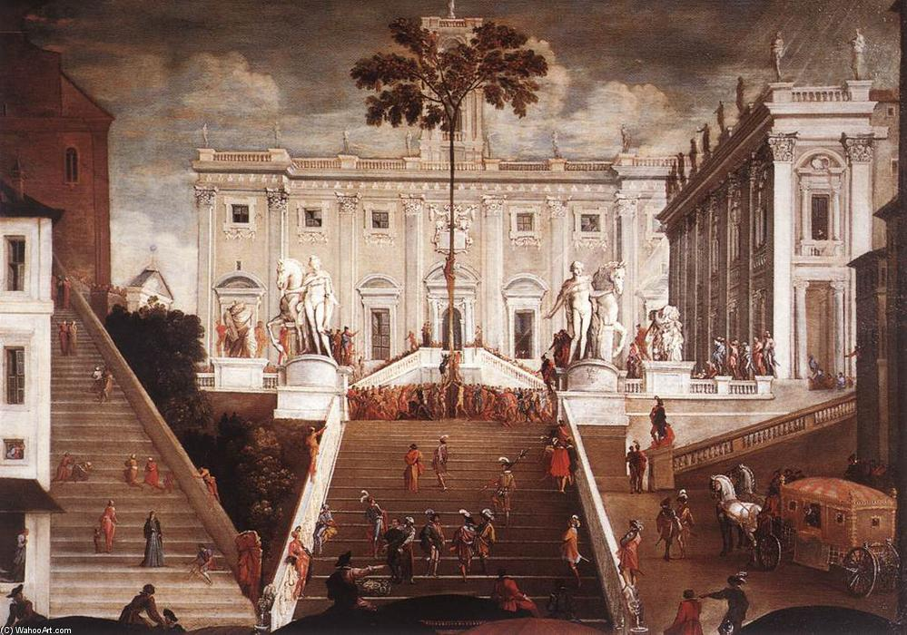 Competition on the Capitoline Hill, Oil On Canvas by Agostino Tassi (1580-1644, Italy)