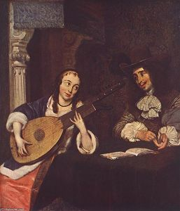 Gerard Ter Borch - Woman Playing the Lute