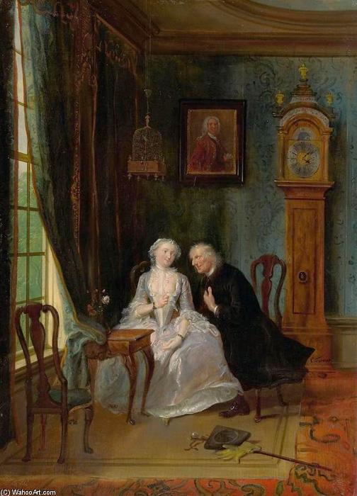 Love Scene, 1736 by Cornelis Troost (1696-1750, Netherlands) | Reproductions Cornelis Troost | ArtsDot.com