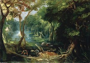 Frederik Van Valkenborch - Wooded River Landscape