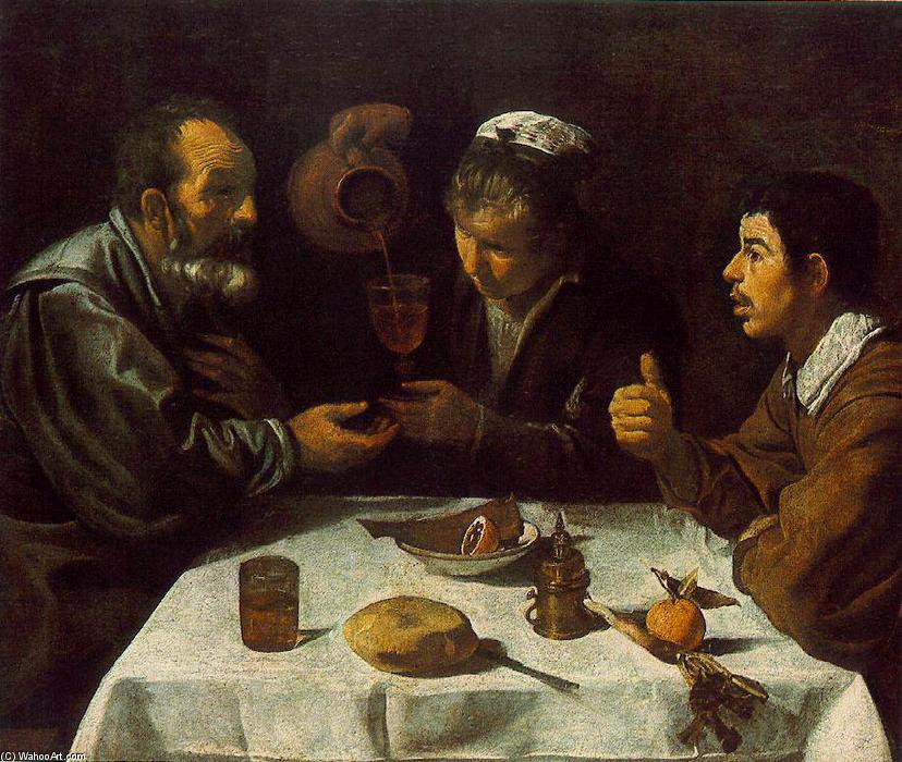 Peasants at the Table (El Almuerzo), Oil On Canvas by Diego Velazquez (1599-1660, Spain)