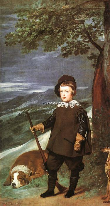 Prince Baltasar Carlos as a Hunter, Oil On Canvas by Diego Velazquez (1599-1660, Spain)