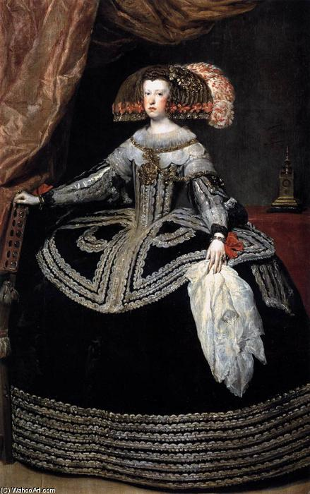 Queen Doña Mariana of Austria, Oil On Canvas by Diego Velazquez (1599-1660, Spain)