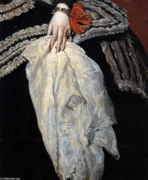 Queen Doña Mariana of Austria (detail), Oil On Canvas by Diego Velazquez (1599-1660, Spain)