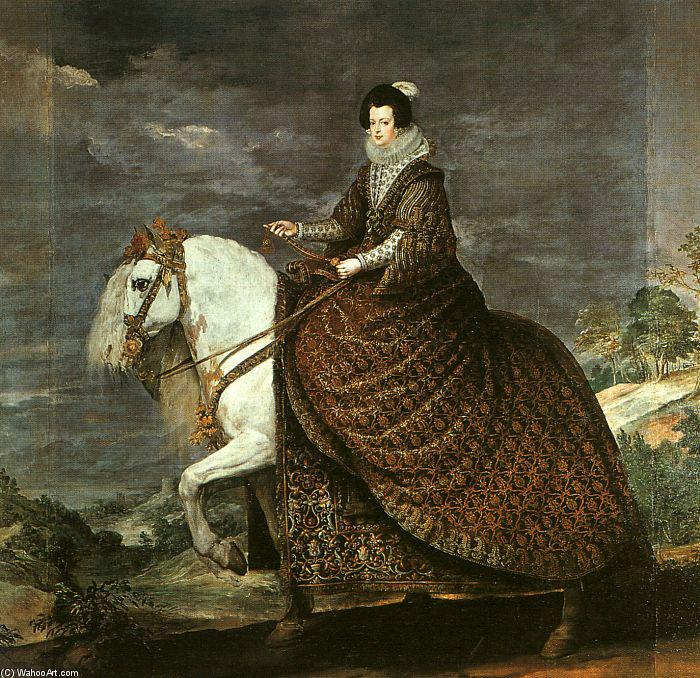 Queen Isabel of Bourbon Equestrian, Oil On Canvas by Diego Velazquez (1599-1660, Spain)