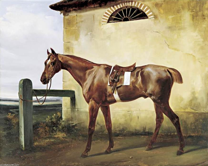 A Saddled Race Horse Tied to a Fence, Oil On Canvas by Emile Jean Horace Vernet (1789-1863)