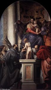 Paolo Veronese - Enthroned Madonna and Child, with the Infant St John the Baptist and Saints