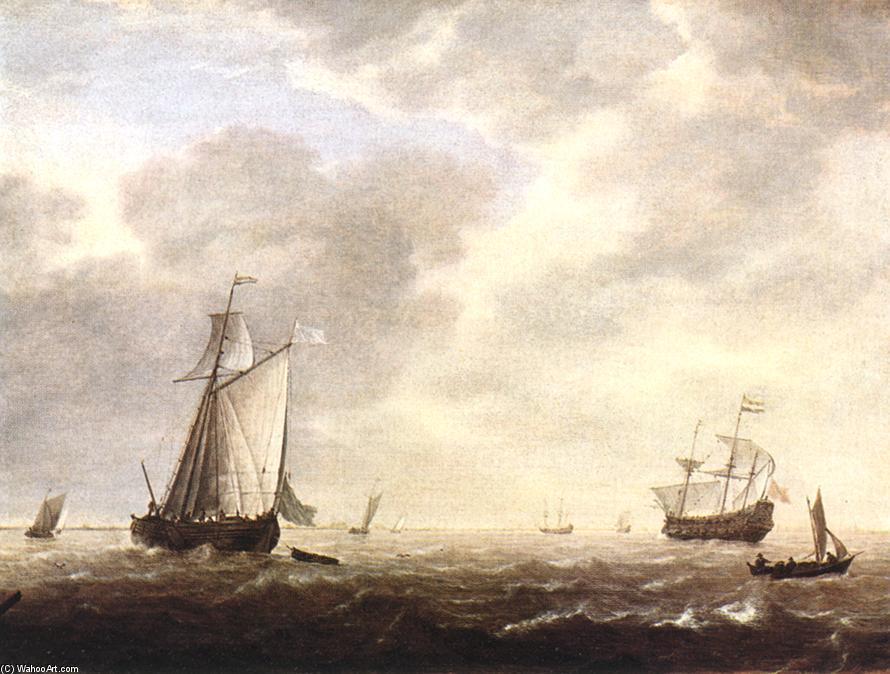 A Dutch Man-of-War and Various Vessels in a Breeze, Oil On Panel by Simon De Vlieger (1601-1653, Netherlands)