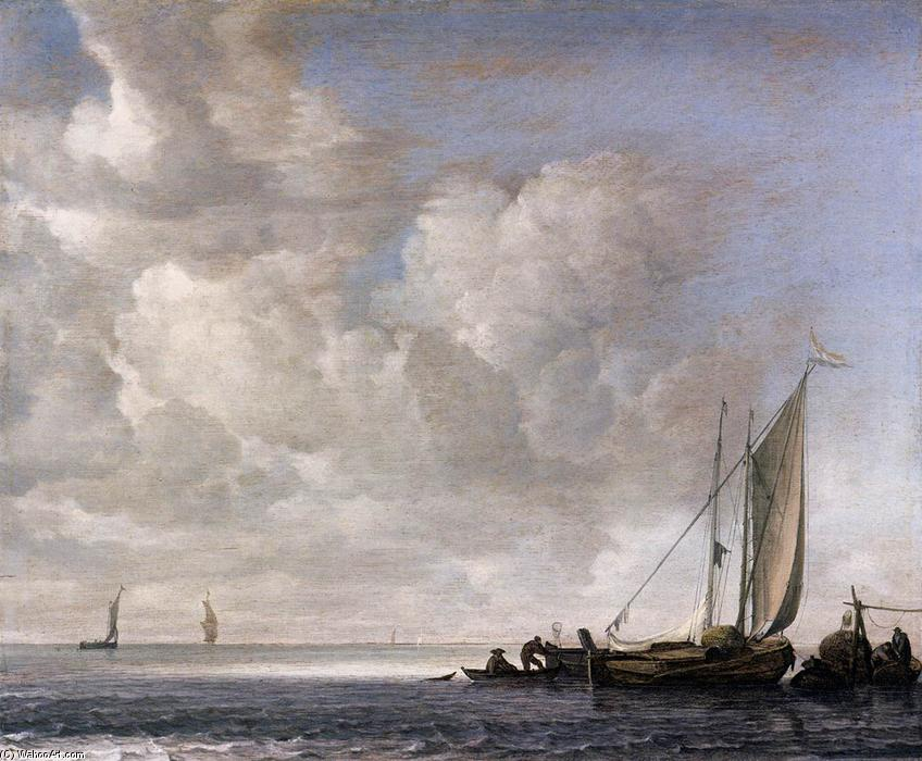 Calm Sea, 1645 by Simon De Vlieger (1601-1653, Netherlands) | Museum Quality Reproductions | ArtsDot.com