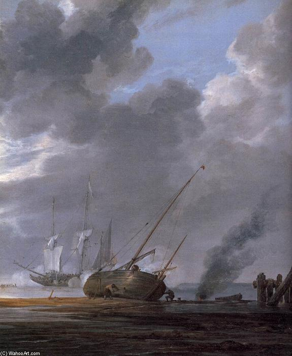 Seascape in the Morning (detail), 1640 by Simon De Vlieger (1601-1653, Netherlands) | Oil Painting | ArtsDot.com