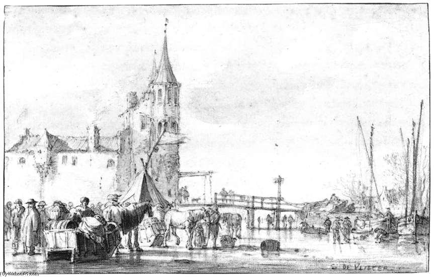 The Northwest Side of the Rotterdam Gate at Delft in Winter, Chalk by Simon De Vlieger (1601-1653, Netherlands)