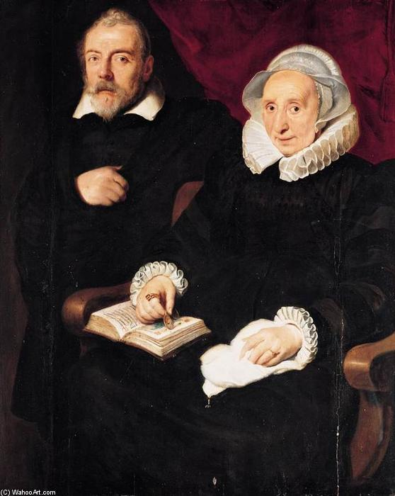 Portrait of Elisabeth Mertens and Her Late Husband, Oil On Panel by Cornelis De Vos (1585-1651, Belgium)