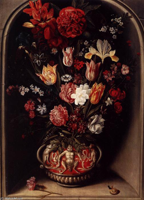 Flower Vase in a Niche, Oil On Panel by Jacob Woutersz Vosmaer (1584-1641, Netherlands)
