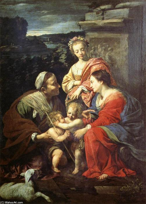 The Holy Family with Sts Elizabeth, John the Baptist and Catherine, Oil On Canvas by Simon Vouet (1590-1649, France)