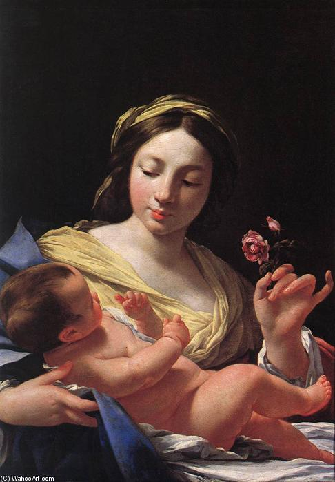 Virgin and Child, Oil On Canvas by Simon Vouet (1590-1649, France)