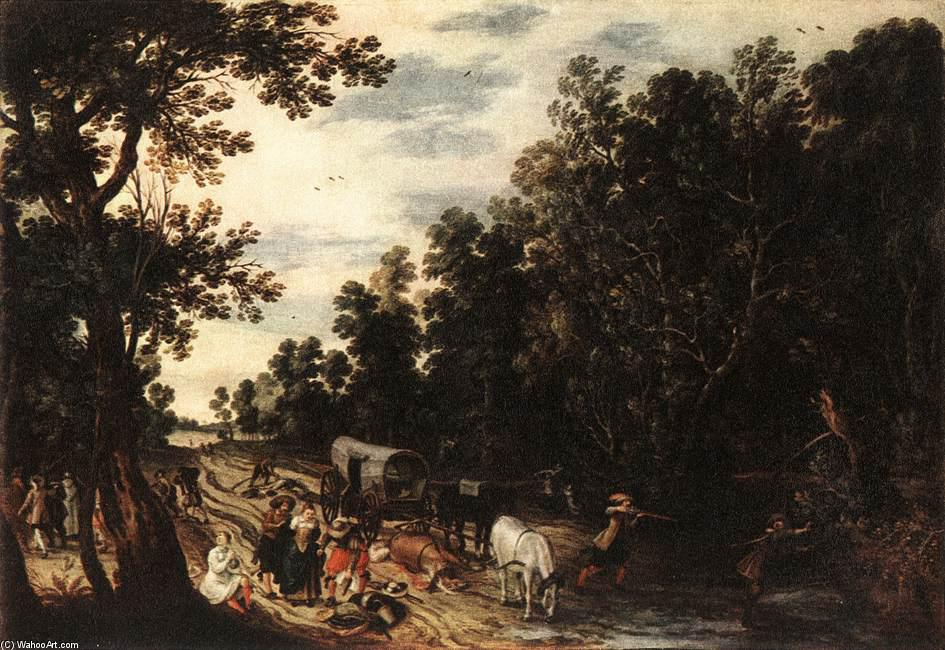 Ambush, Oil by Sebastian Vrancx (1573-1647, Belgium)