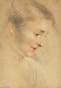 Jean Antoine Watteau - Study of a Woman-s Head