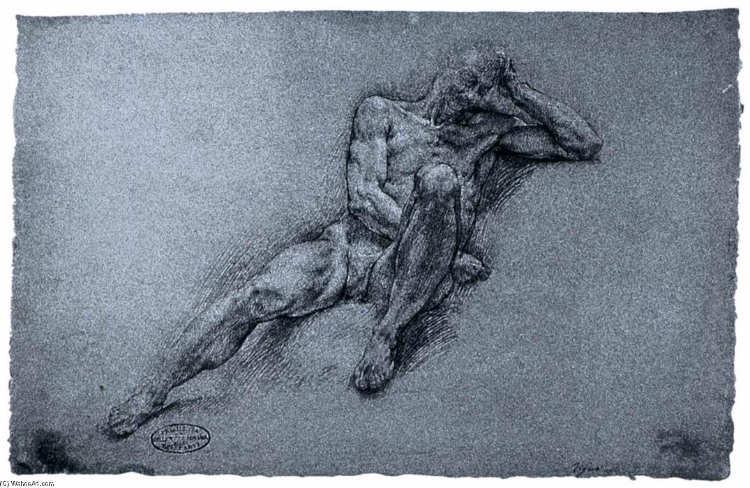 Sleeping Nude Figure, Pencil by Giovanni Ambrogio Figino (1553-1608, Italy)