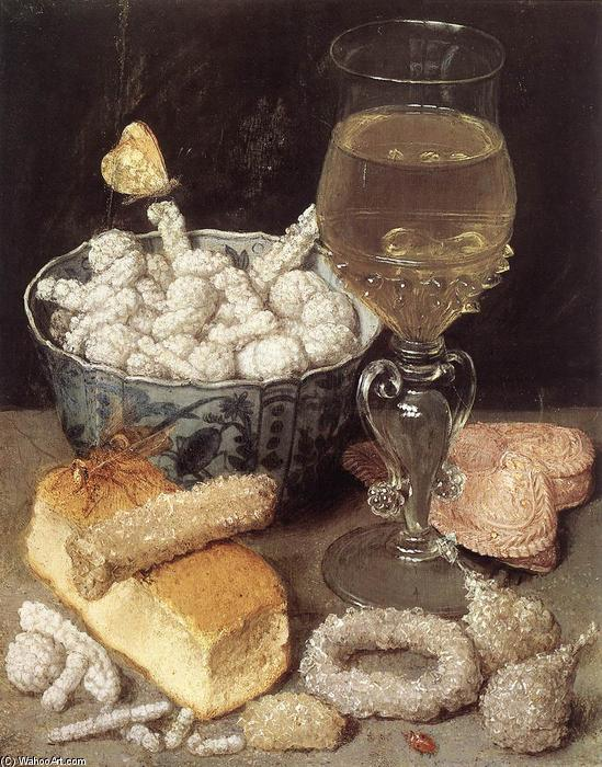 Still-Life with Bread and Confectionary by Georg Flegel (1566-1638, Czech Republic) | Museum Quality Copies Georg Flegel | ArtsDot.com
