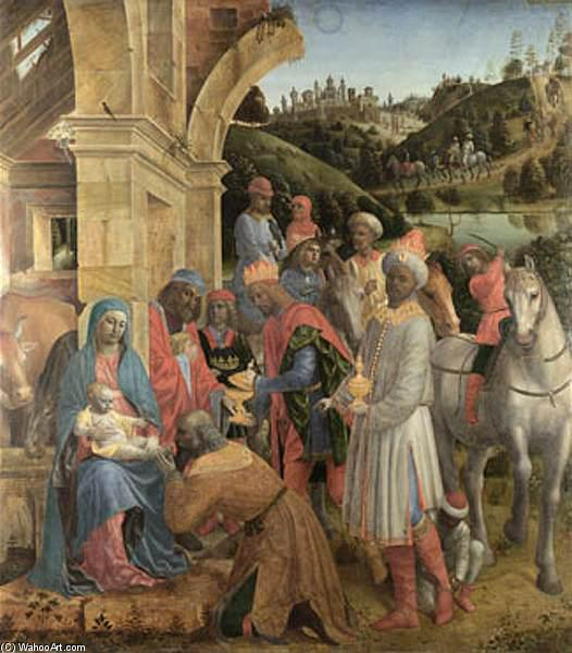 The Adoration of the Kings, Panel by Vincenzo Foppa (1427-1515, Italy)