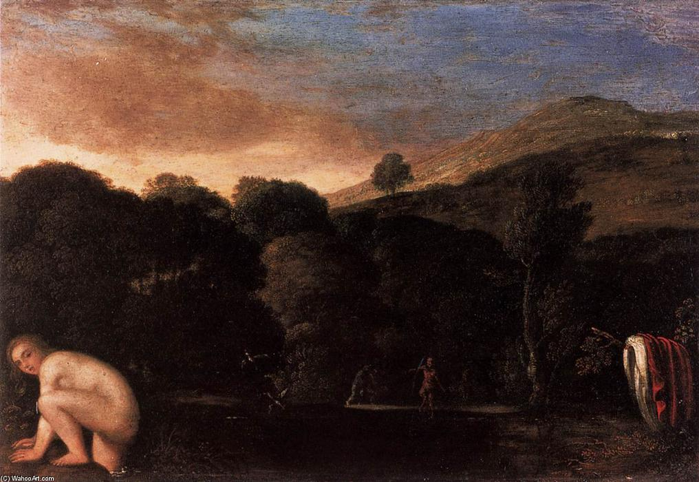 Nymph Fleeing Satyrs, Oil On Copper by Adam Elsheimer (1578-1610, Germany)