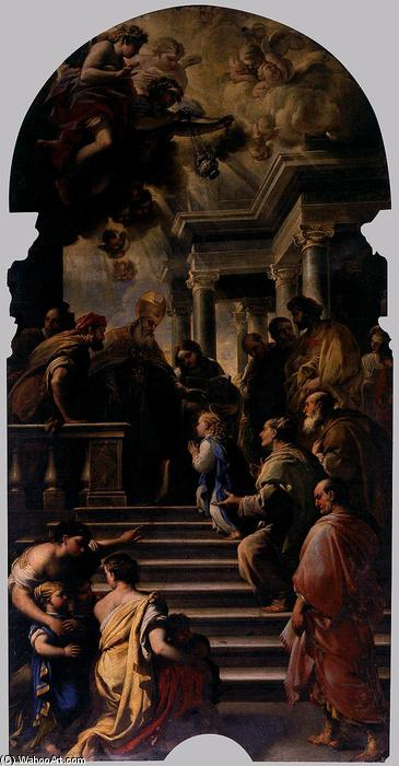 Presentation of Mary at the Temple, Oil On Canvas by Luca Giordano (1634-1705, Italy)