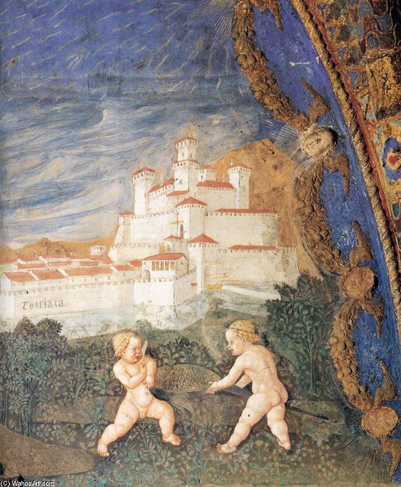 Pier Maria and Bianca Struck by the Arrows of Amor (detail), Frescoes by Benedetto Bembo (1423-1489, Italy)