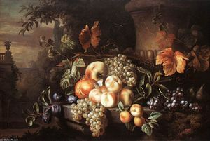 Jakob Bogdany - Fruit-piece with Stone Vase