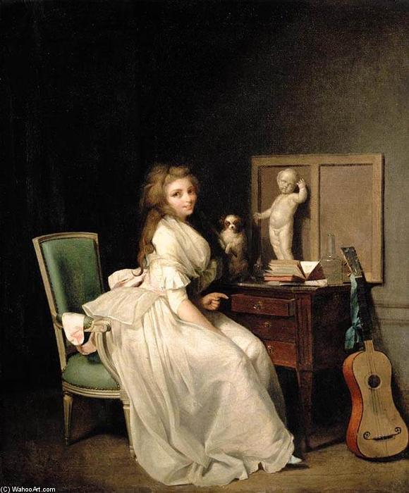 Order Museum Quality Reproductions : A Lady Seated at Her Desk by Louis Léopold Boilly (1761-1845, France) | ArtsDot.com