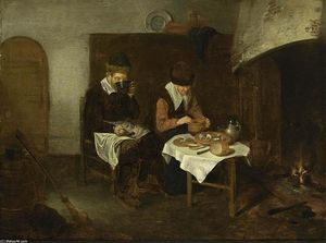 Quiringh Gerritsz Van Brekelenkam - A Couple Having a Meal before a Fireplace