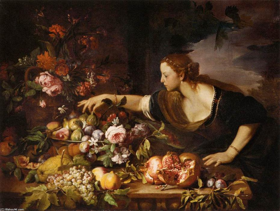 Woman Grasping Fruit, Oil On Canvas by Abraham Brueghel (1631-1690, Belgium)