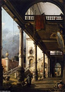 Giovanni Antonio Canal (Canaletto) - Perspective View with Portico