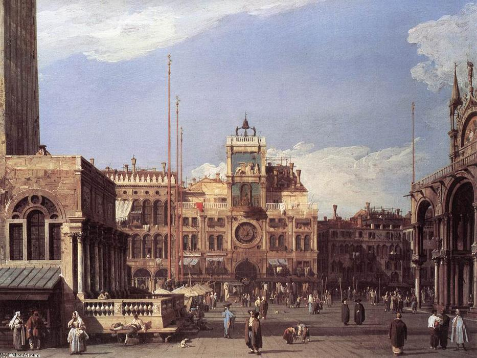 Piazza San Marco: the Clocktower, 1730 by Giovanni Antonio Canal (Canaletto) (1730-1768, Italy) | Art Reproductions Giovanni Antonio Canal (Canaletto) | ArtsDot.com
