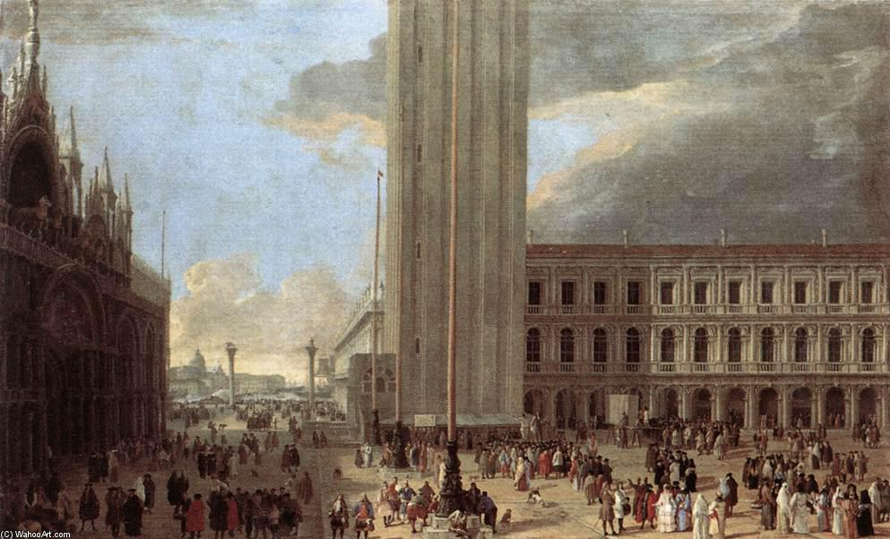 Piazza San Marco with Jugglers, Oil On Canvas by Luca Carlevaris (1663-1730, Italy)
