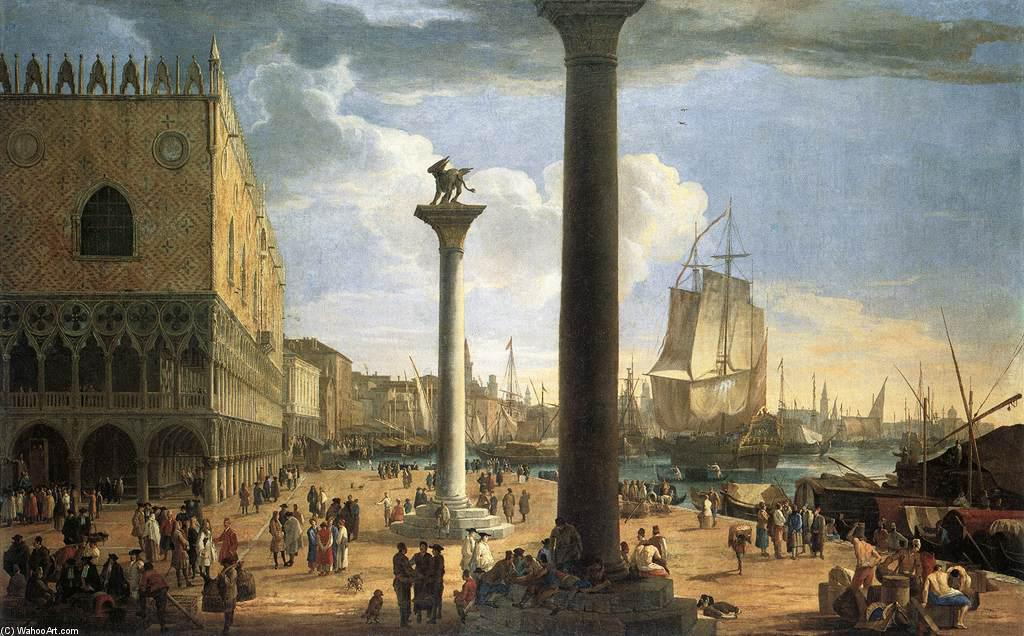 The Molo with the Ducal Palace, Oil On Canvas by Luca Carlevaris (1663-1730, Italy)