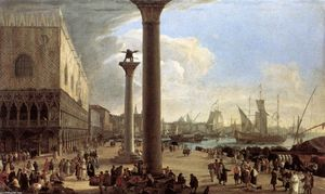 Luca Carlevaris - The Wharf, Looking toward the Doge-s Palace
