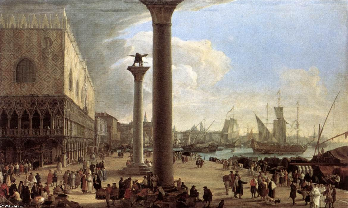 The Wharf, Looking toward the Doge's Palace, Oil On Canvas by Luca Carlevaris (1663-1730, Italy)