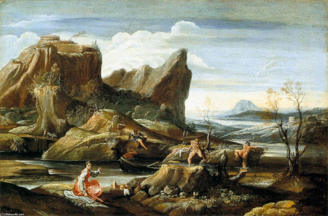 Landscape with Bathers, Oil On Canvas by Antonio Marziale Carracci (1583-1618, Italy)