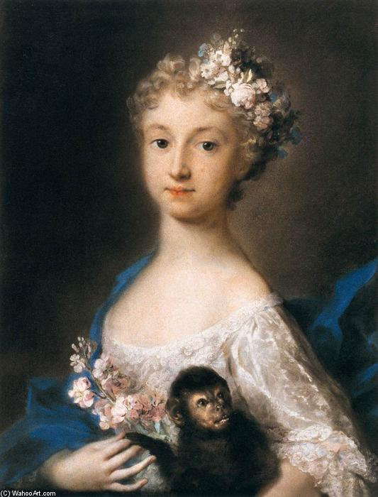 Young Girl Holding a Monkey, Pastel by Rosalba Carriera (1675-1757, Italy)