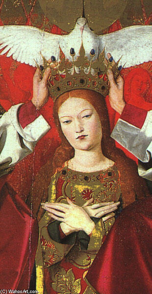 The Coronation of the Virgin, detail: the Virgin, Panel by Enguerrand Charonton (1412-1466, France)