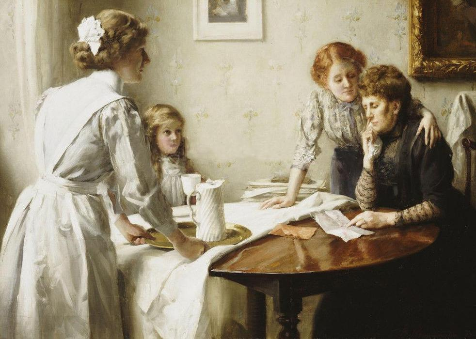 The Letter, 1912 by Thomas Benjamin Kennington (1856-1916, United Kingdom)