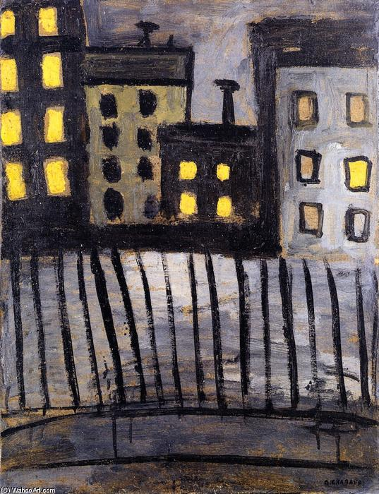 Lighted Windows, Oil On Panel by Auguste Chabaud (1882-1955, France)