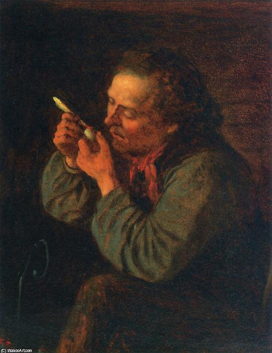 Lighting His Pipe, Oil On Panel by Jonathan Eastman Johnson (1824-1906, United Kingdom)